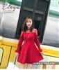 实拍2018春装新款圆领网纱拼接收腰A字红色连衣裙