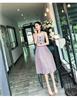 实拍2019夏装新款吊带格子收腰中长款A字连衣裙